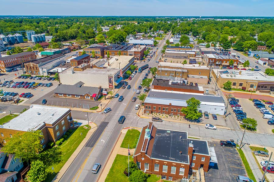 Lancaster KY - Aerial View of Downtown Lancaster Kentucky with Green Foliage on a Sunny Day
